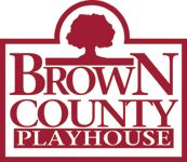 Brown County Playhouse square red and white logo.